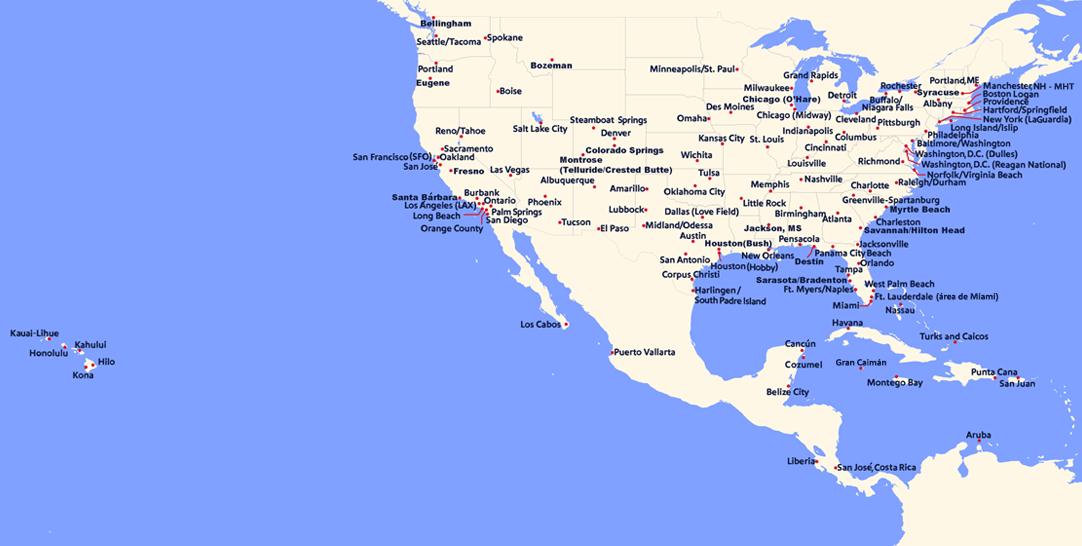Mapa de todos nuestros vuelos actuales y futuros disponibles para reservar durante el período de nuestro itinerario abierto.